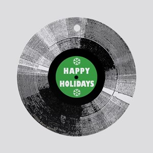 Holiday Record Ornament - Happy/Green (Round)