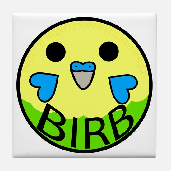 Funny Blue parakeet Tile Coaster