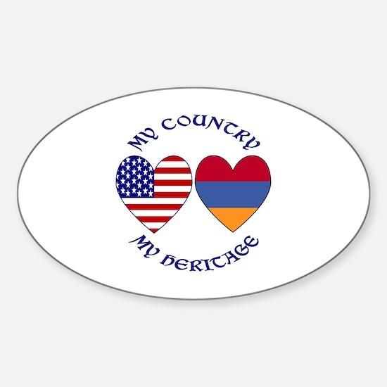 Armenia / USA Country Heritage Oval Decal