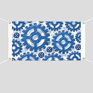 Blue gear wheels Banner