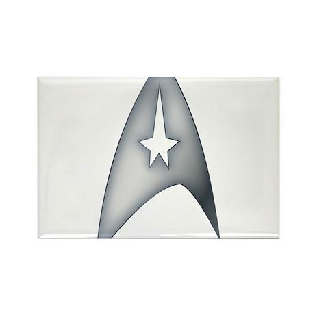 Gray Metallic Star Trek Logo Design Rectangle Magn