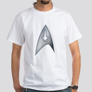 Gray Metallic Star Trek Logo Design T-Shirt