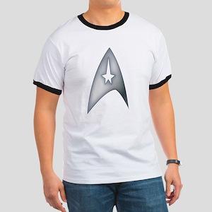 Gray Metallic Star Trek Logo Design T-Shirt