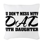 Dad with Daughters Woven Throw Pillow
