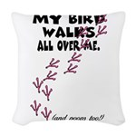 My Bird Walks... Woven Throw Pillow