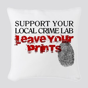 Crime Lab - Leave Your Prints Woven Throw Pillow