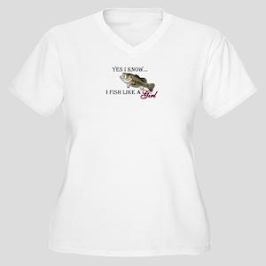 Fish like a girl Women's Plus Size V-Neck T-Shirt