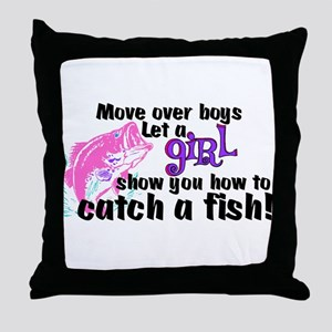 Move Over Boys - Fish Throw Pillow