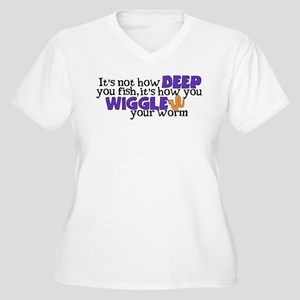 Wiggle your worm Women's Plus Size V-Neck T-Shirt