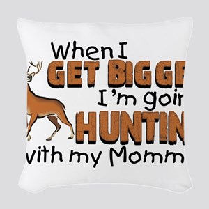 Hunting With Mommy Woven Throw Pillow