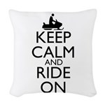 Keep Calm and Ride On Woven Throw Pillow