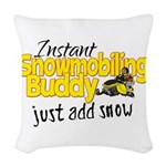 Instant Snowmobiling Buddy Woven Throw Pillow