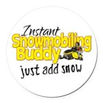 Instant Snowmobiling Buddy Round Car Magnet