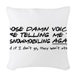 damnvoices23.png Woven Throw Pillow