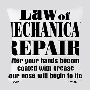 Law of Mechanical Repair: Woven Throw Pillow