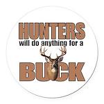 Hunters/Buck Round Car Magnet