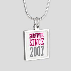 Survivor Since 2007 Silver Square Necklace