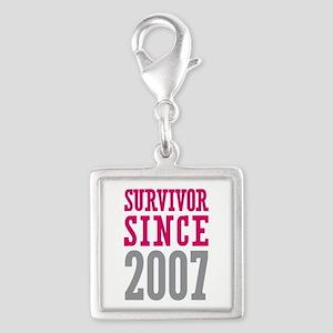 Survivor Since 2007 Silver Square Charm