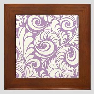 African Violet & White Swirls Framed Tile