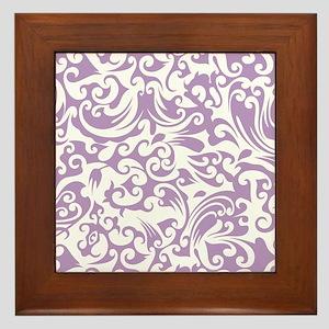 African Violet & White Swirls #2 Framed Tile