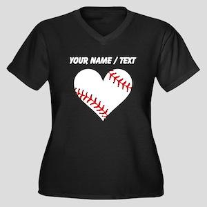 Custom Baseball Heart Plus Size T-Shirt