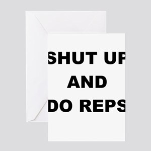Funny personal trainer greeting cards cafepress shut up and do reps greeting card m4hsunfo