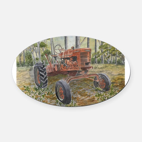 old farm tractor painting Oval Car Magnet