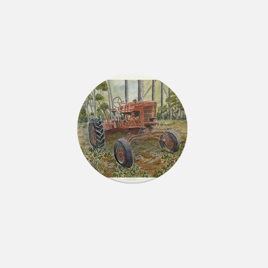 old farm tractor painting Mini Button