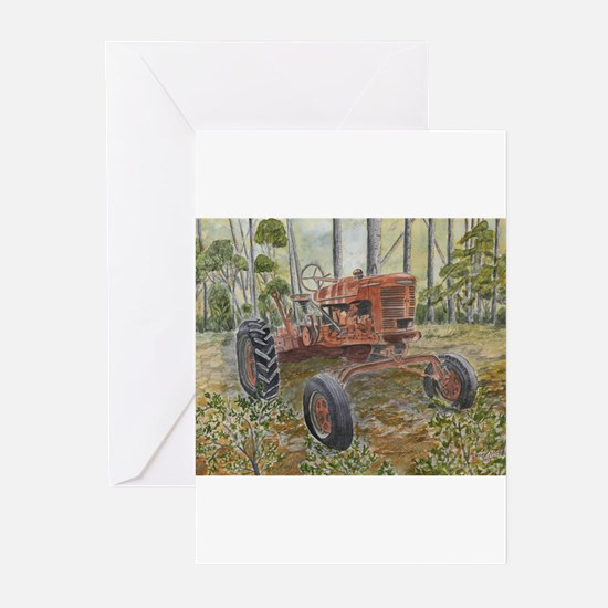 old farm tractor painting Greeting Cards (Pk of 20
