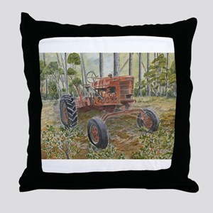 old farm tractor painting Throw Pillow
