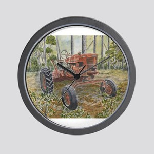 old farm tractor painting Wall Clock