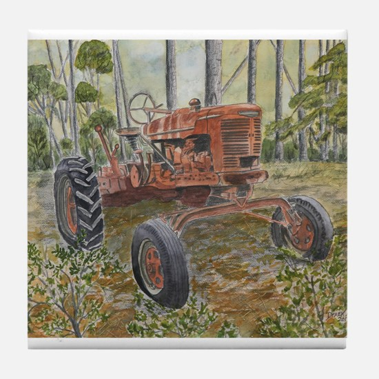 old farm tractor painting Tile Coaster