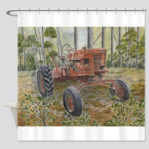 old farm tractor painting Shower Curtain