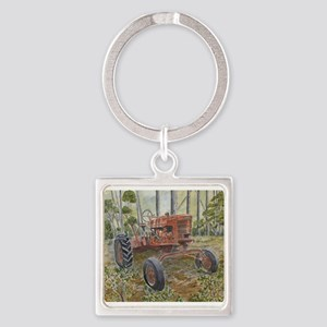 old farm tractor painting Keychains