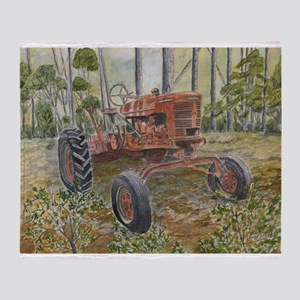 old farm tractor painting Throw Blanket