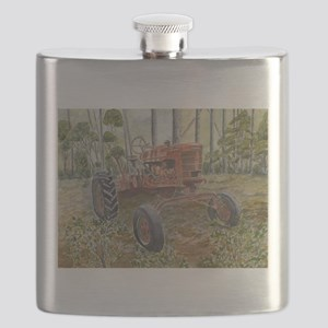 old farm tractor painting Flask