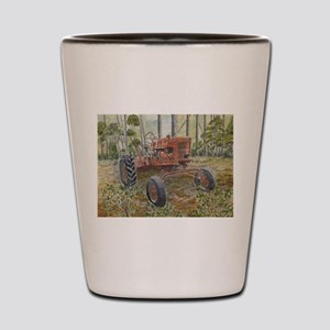 old farm tractor painting Shot Glass