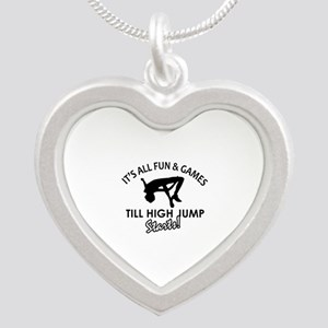 High Jump enthusiast designs Silver Heart Necklace