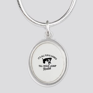 High Jump enthusiast designs Silver Oval Necklace