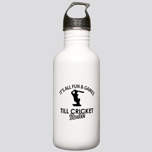 Cricket enthusiast designs Stainless Water Bottle