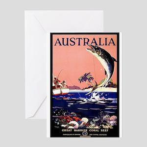 Antique Australia Fishing Travel Poster Greeting C