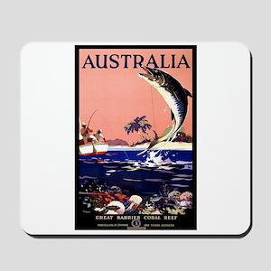 Antique Australia Fishing Travel Poster Mousepad