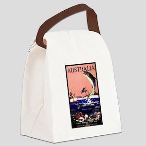 Antique Australia Fishing Travel Poster Canvas Lun