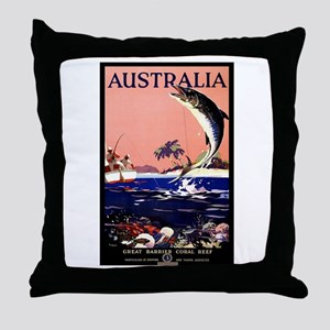 Antique Australia Fishing Travel Poster Throw Pill