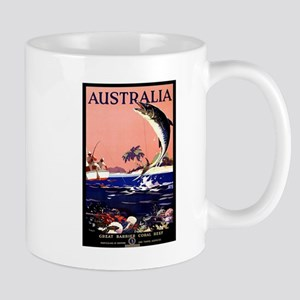 Antique Australia Fishing Travel Poster Mug