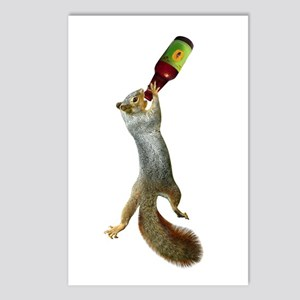 Squirrel Drinking Beer Postcards (Package of 8)