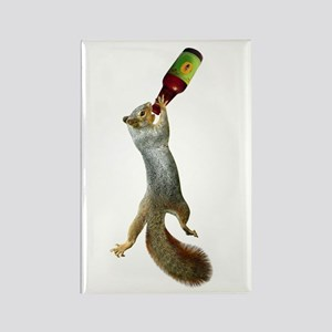 Squirrel Drinking Beer Rectangle Magnet