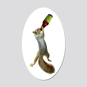 Squirrel Drinking Beer 20x12 Oval Wall Decal