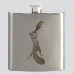 Squirrel Drinking Beer Flask