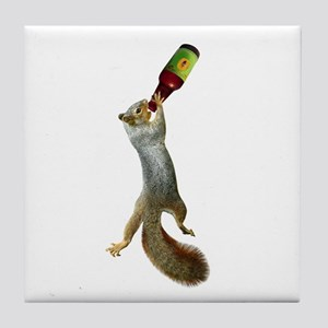 Squirrel Drinking Beer Tile Coaster